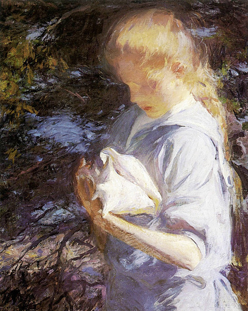 Art Prints of Eleanor Holding a Shell by Frank Weston Benson