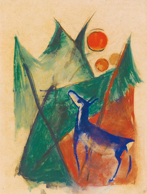 Art Prints of Blue Deer in Landscape by Franz Marc