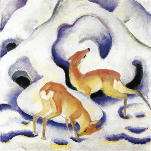 Art Prints of Deer in the Snow by Franz Marc