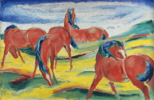 Art Prints of Grazing Horses III by Franz Marc