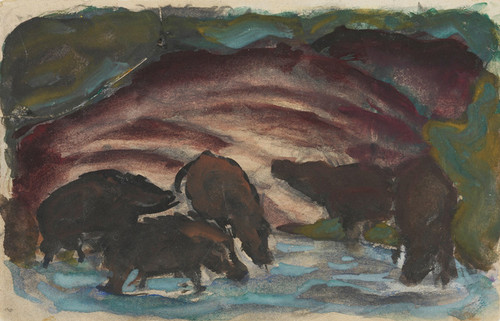 Art Prints of Wild Boars in the Water by Franz Marc