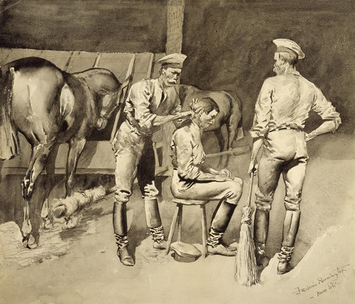 Art Prints of A Haircut in a Cavalry Stable by Frederic Remington