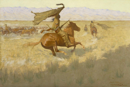 Art Prints of Change of Ownership, Stampede or Horse Thieves by Frederic Remington