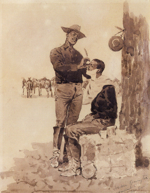 Art Prints of Cavalryman Shaving a Comrade by Frederic Remington