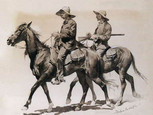 Frederic Remington The Fall of the Cowboy Giclee Canvas Print  Poster