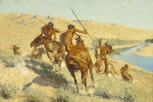 Art Prints of Episode of the Buffalo Gun by Frederic Remington