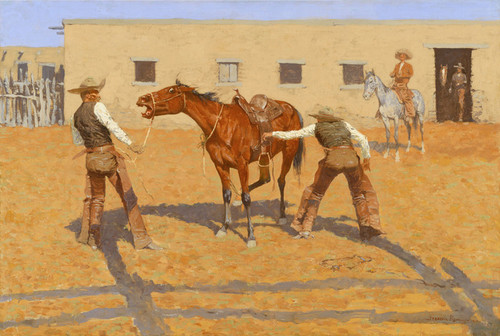 Art Prints of His First Lesson by Frederic Remington