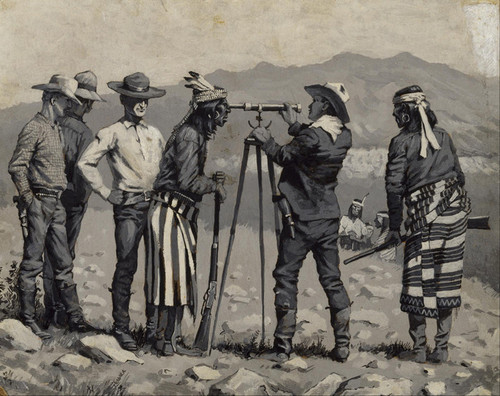 Art Prints of Looking through the Telescope by Frederic Remington