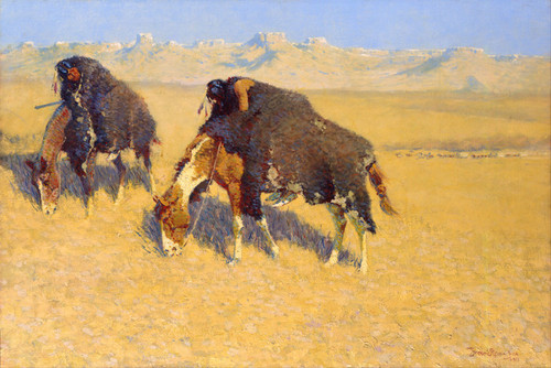 Art Prints of Indians Simulating Buffalo by Frederic Remington