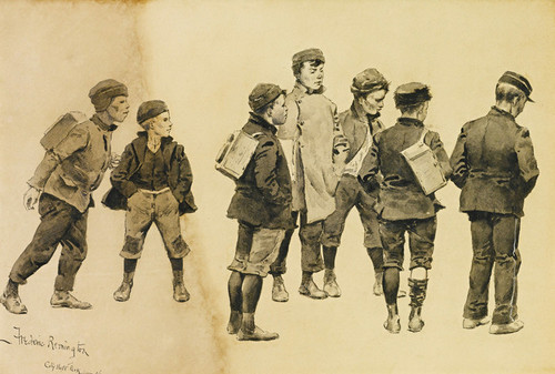 Art Prints of Newsboys Waiting for Delivery Time by Frederic Remington