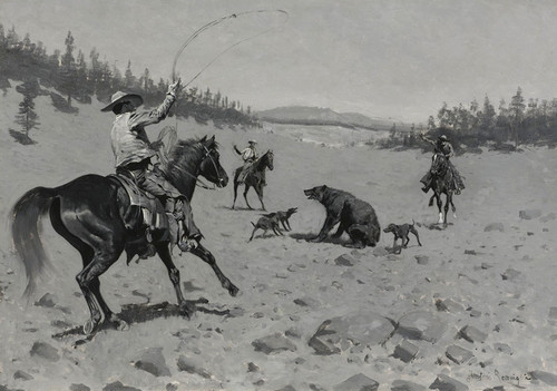 Art Prints of The Bear at Bay Roping a Grizzly by Frederic Remington