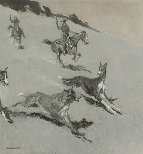 Art Prints of With the Wolfhounds by Frederic Remington