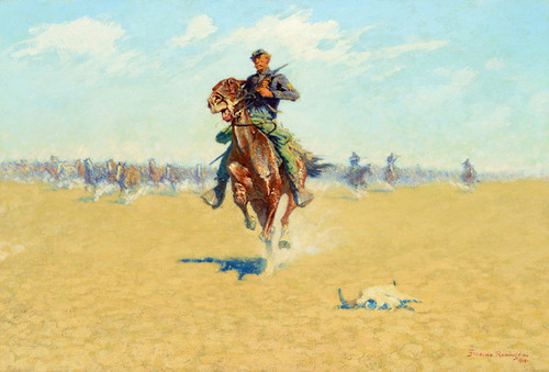 Art Prints of Cutting Out Pony Herds, a Stampede by Frederic Remington