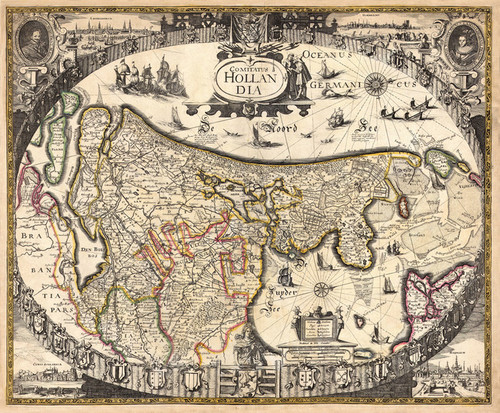 Art Prints of Antique Map of Holland, 3rd State, 1630 by Frederick De Wit Helmink