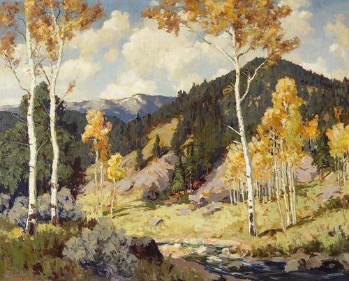 Art Prints of Aspens, Santa Fe Canyon by Fremont Ellis