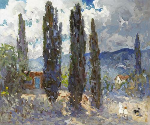 Art Prints of Poplars in Santa Fe by Fremont Ellis