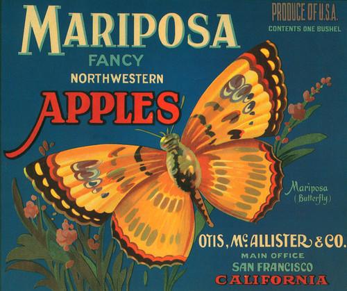 Art Prints of 001 Mariposa Apples, Fruit Crate Labels