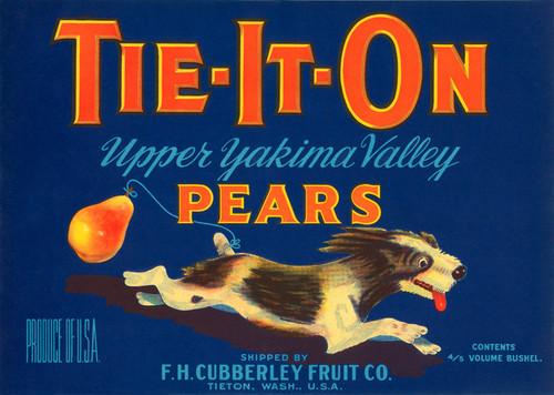 Art Prints of 013 Tie-It-On Pears, Fruit Crate Labels