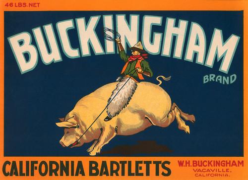 Art Prints of 014 Buckingham California Bartletts, Fruit Crate Labels