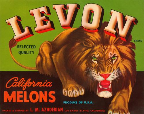 Art Prints of 009 Levon California Melons, Fruit Crate Labels