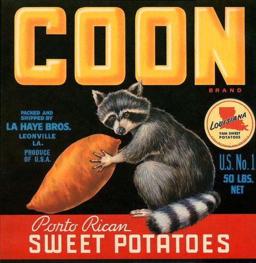 Art Prints of 015 Coon Sweet Potatos, Fruit Crate Labels