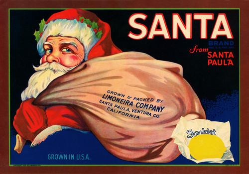 Art Prints of 017 Santa Brand, Fruit Crate Labels