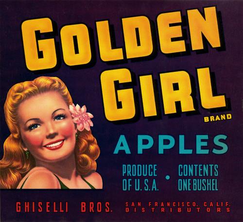 Art Prints of 036 Golden Girl Apples, Fruit Crate Labels