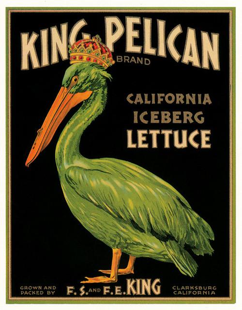 Art Prints of 032 King Pelican Lettues, Fruit Crate Labels