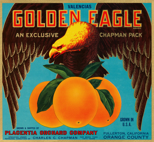 Art Prints of 040 Golden Eagle Oranges, Fruit Crate Labels