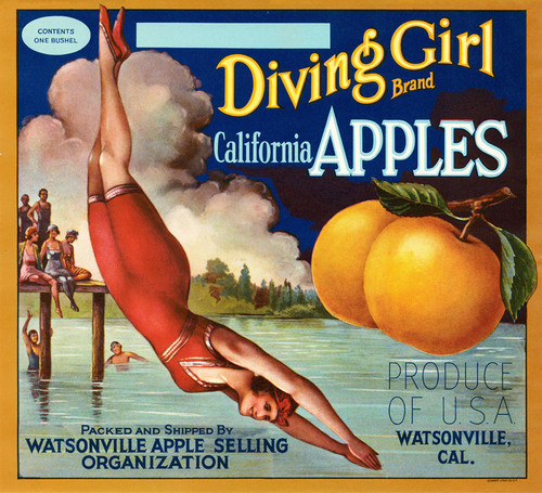 Art Prints of 056 Diving Girl Apples, Fruit Crate Labels