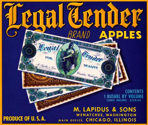 Art Prints of 055 Legal Tender Apples, Fruit Crate Labels