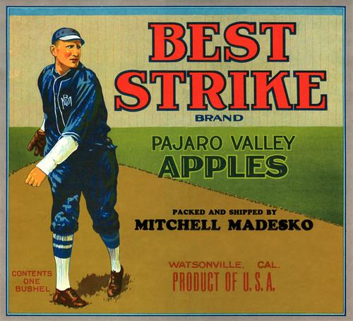 Art Prints of |Art Prints of 065 Best Strike Pajaro Valley Apples, Fruit Crate Labels