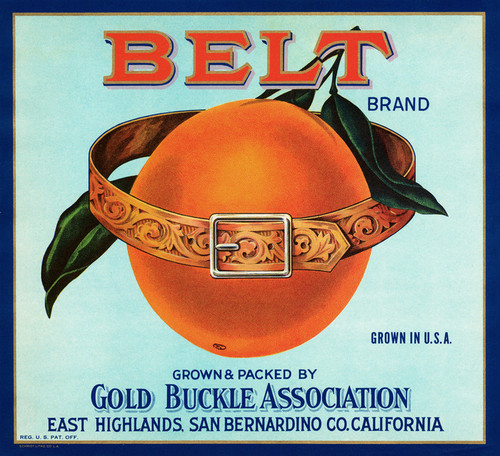 Art Prints of |Art Prints of 072 Belt Brand Orange, Fruit Crate Labels