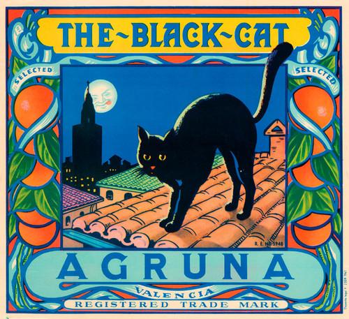 Art Prints of |Art Prints of 077 The Black Cat Agruna, Fruit Crate Labels