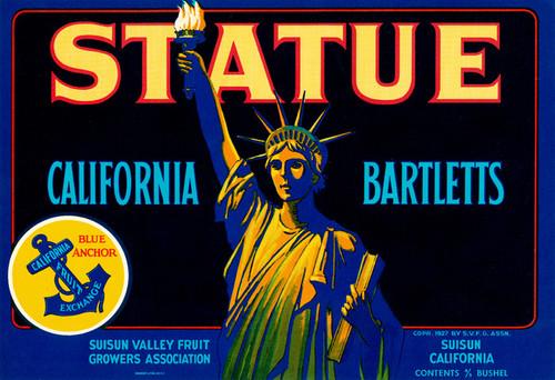 Art Prints of |Art Prints of 089 Statue California Bartletts, Fruit Crate Labels