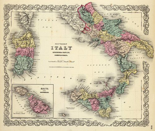 Art Prints of |Art Prints of Southern Italy, Kingdom of Naples, 1856 (0149086) by G.W. Colton