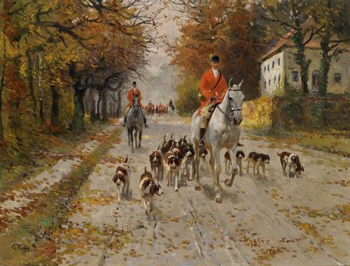Art Prints of Departure for Hunting by Georg Carl Koch
