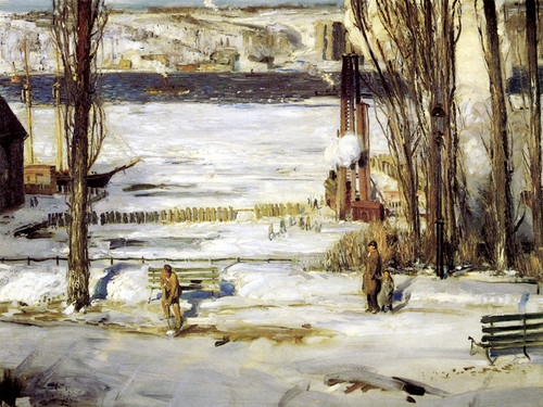 Art Prints of |Art Prints of A Morning Snow, Hudson River, 1910 by George Bellows