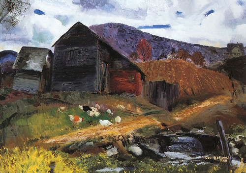 Art Prints of |Art Prints of Old Barn in Shady Valley by George Bellows