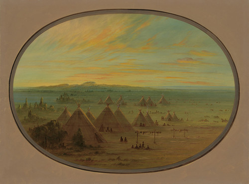 Art Prints of A Crow Village on the Salmon River by George Catlin