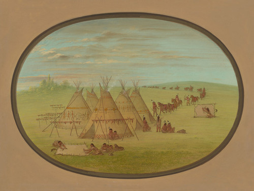 Art Prints of A Little Sioux Village by George Catlin