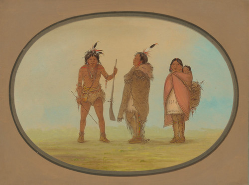 Art Prints of Arapaho Chief His Wife and a Warrior by George Catlin