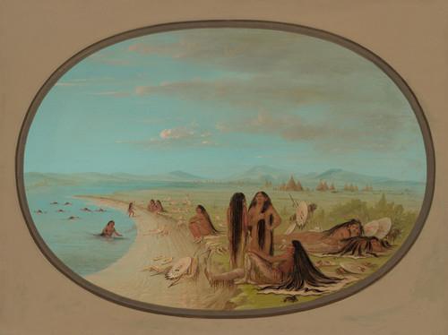 Art Prints of Crow Warriors Bathing by George Catlin