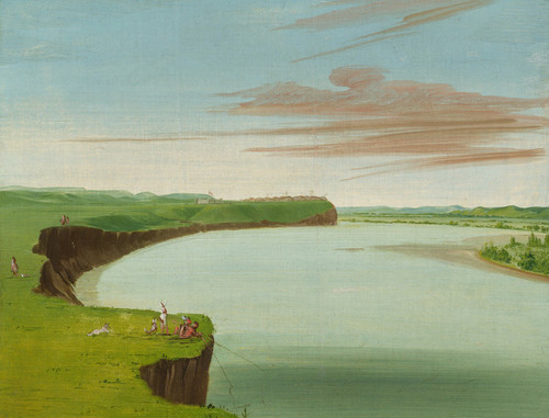 Art Prints of Distant View of the Mandan Village by George Catlin