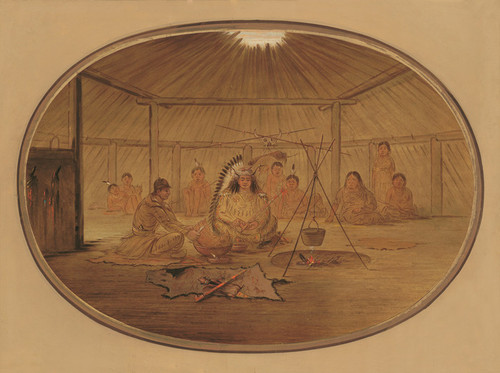 Art Prints of Feasted by the Mandan Chie by George Catlin