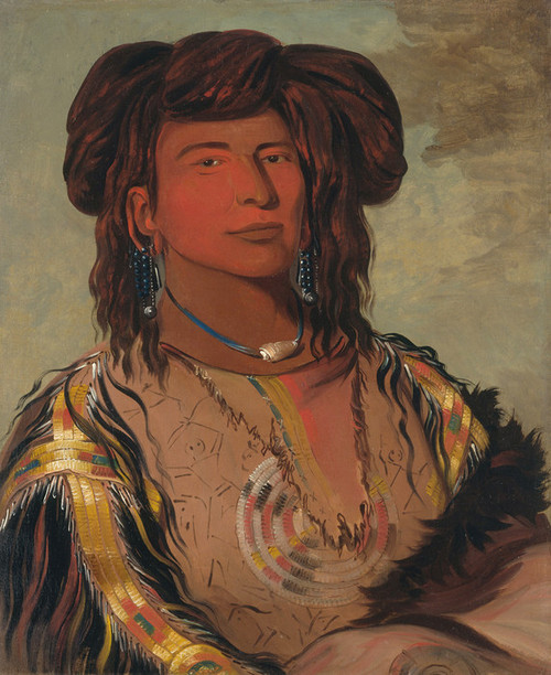Art Prints of Ha Won Je Tah One Horn Head Chief, Miniconjou Tribe by George Catlin