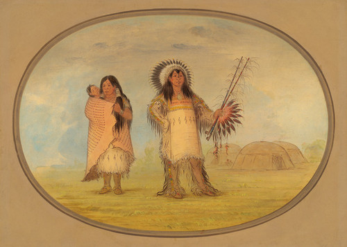 Art Prints of Mandan Civil Chief His Wife and Child by George Catlin