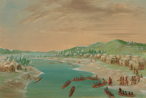 Art Prints of La Salle and Party Arrive at the Village of Illinois by George Catlin