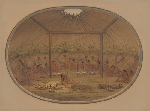 Art Prints of Mandan Ceremony, the Water Sinks Down by George Catlin
