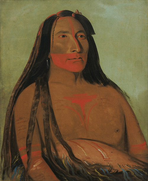 Art Prints of Mah To Toh Pa Four Bears Second Chief in Mourning by George Catlin
